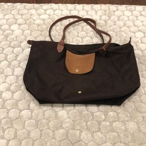 Longchamp Large Le Pliage Tote in Brown Nylon